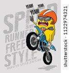 monster riding a motorbike ... | Shutterstock .eps vector #1122974321