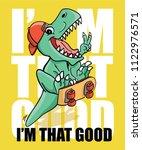dinosaur skateboarding vector... | Shutterstock .eps vector #1122976571