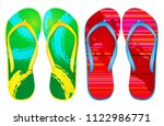 vector colorful flip flops  | Shutterstock .eps vector #1122986771