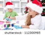 kids making christmas greetings ... | Shutterstock . vector #112300985