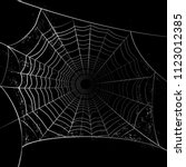white spider web cobweb... | Shutterstock .eps vector #1123012385