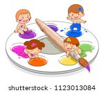 cartoon illustration of cute... | Shutterstock .eps vector #1123013084