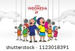 indonesia traditional games... | Shutterstock .eps vector #1123018391