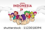 indonesia traditional games... | Shutterstock .eps vector #1123018394
