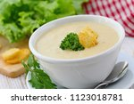 delicious cream soup with... | Shutterstock . vector #1123018781
