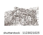 cinque terre is a string of... | Shutterstock .eps vector #1123021025