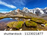 hiking scene in cordillera...   Shutterstock . vector #1123021877