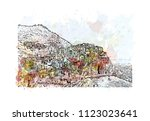 cinque terre is a string of... | Shutterstock .eps vector #1123023641