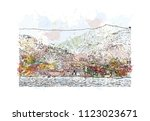 cinque terre is a string of... | Shutterstock .eps vector #1123023671