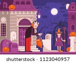 halloween scene with scary... | Shutterstock . vector #1123040957