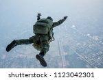 military parachute training.... | Shutterstock . vector #1123042301