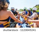 rafting team   summer extreme...   Shutterstock . vector #1123045241