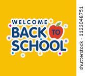 back to school typography with... | Shutterstock .eps vector #1123048751