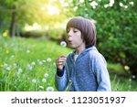 boy blowing dandelion over... | Shutterstock . vector #1123051937