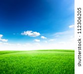green field under blue sky.... | Shutterstock . vector #112306205