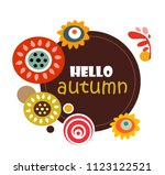 autumn season banner. hello... | Shutterstock .eps vector #1123122521