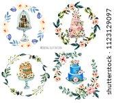 watercolor holiday wedding...   Shutterstock . vector #1123129097