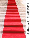elegant red carpet on the... | Shutterstock . vector #1123146344