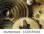 closeup of gears and cogs... | Shutterstock . vector #1123155101