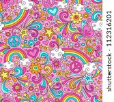seamless pattern psychedelic... | Shutterstock .eps vector #112316201