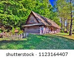 traditional wooden house in... | Shutterstock . vector #1123164407