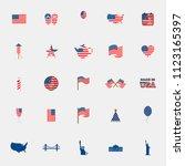 american flag icons set vector | Shutterstock .eps vector #1123165397