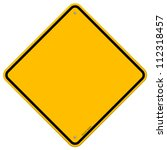 Isolated Blank Yellow Sign  ...