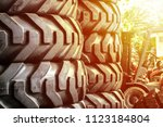 giant tire. new product. sun... | Shutterstock . vector #1123184804