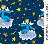 christmas angels in the starry... | Shutterstock .eps vector #1123185557