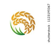 wheat logo icon emblem design.... | Shutterstock .eps vector #1123195367