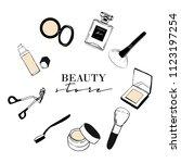 beauty store makeup banner...   Shutterstock .eps vector #1123197254
