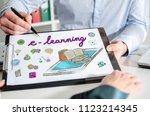 businessman showing e learning... | Shutterstock . vector #1123214345
