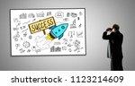 man looking at business success ... | Shutterstock . vector #1123214609