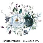 watercolor floral bouquet roses ... | Shutterstock . vector #1123215497