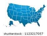 blue map of the united states... | Shutterstock .eps vector #1123217057