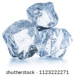 three ice cubes with water... | Shutterstock . vector #1123222271