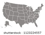 gray map of united states of... | Shutterstock .eps vector #1123224557