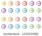 hexagon button icon in half...