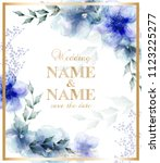 wedding card with watercolor... | Shutterstock .eps vector #1123225277
