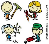 set of doodle happy children... | Shutterstock .eps vector #112323695