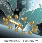 A golden clock with dollar symbols and world map in the background / Time is money - stock photo
