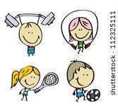 doodle happy sport kids   Shutterstock .eps vector #112325111
