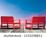 red chair on a leisure... | Shutterstock . vector #1123258811