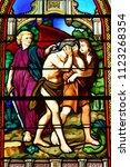 Small photo of Les Mureaux, France - june 9 2018 : the Saint Pierre Saint Paul church stained glass window