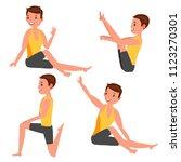 yoga man poses set. girl. yoga... | Shutterstock . vector #1123270301
