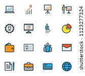 trade icons colored line set... | Shutterstock .eps vector #1123277324