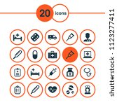 medicine icons set with data ... | Shutterstock .eps vector #1123277411