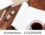 open blank journal pages for... | Shutterstock . vector #1123296335