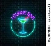 neon lounge cocktails bar sign... | Shutterstock . vector #1123311251