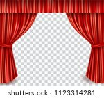 red stage curtain realistic... | Shutterstock .eps vector #1123314281